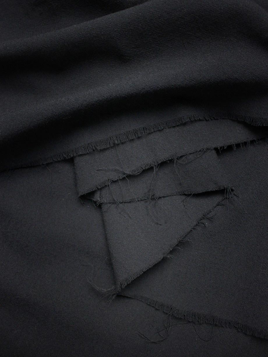 vaniitas Dries Van Noten black gathered maxi skirt with frayed trim 1795