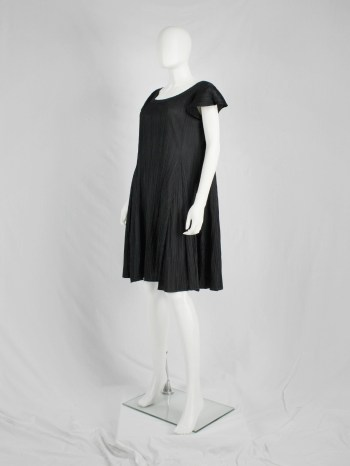 Issey Miyake Pleats Please black babydoll dress with fine pleats