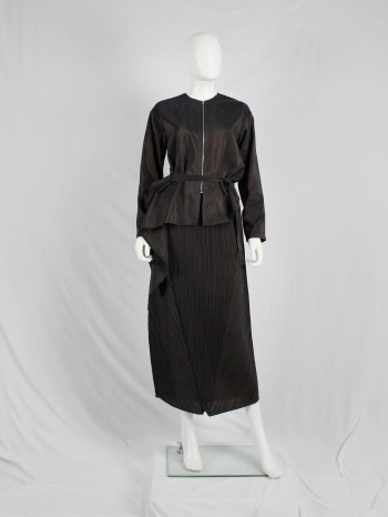 Issey Miyake Pleats Please brown curved skirt with triangular panels