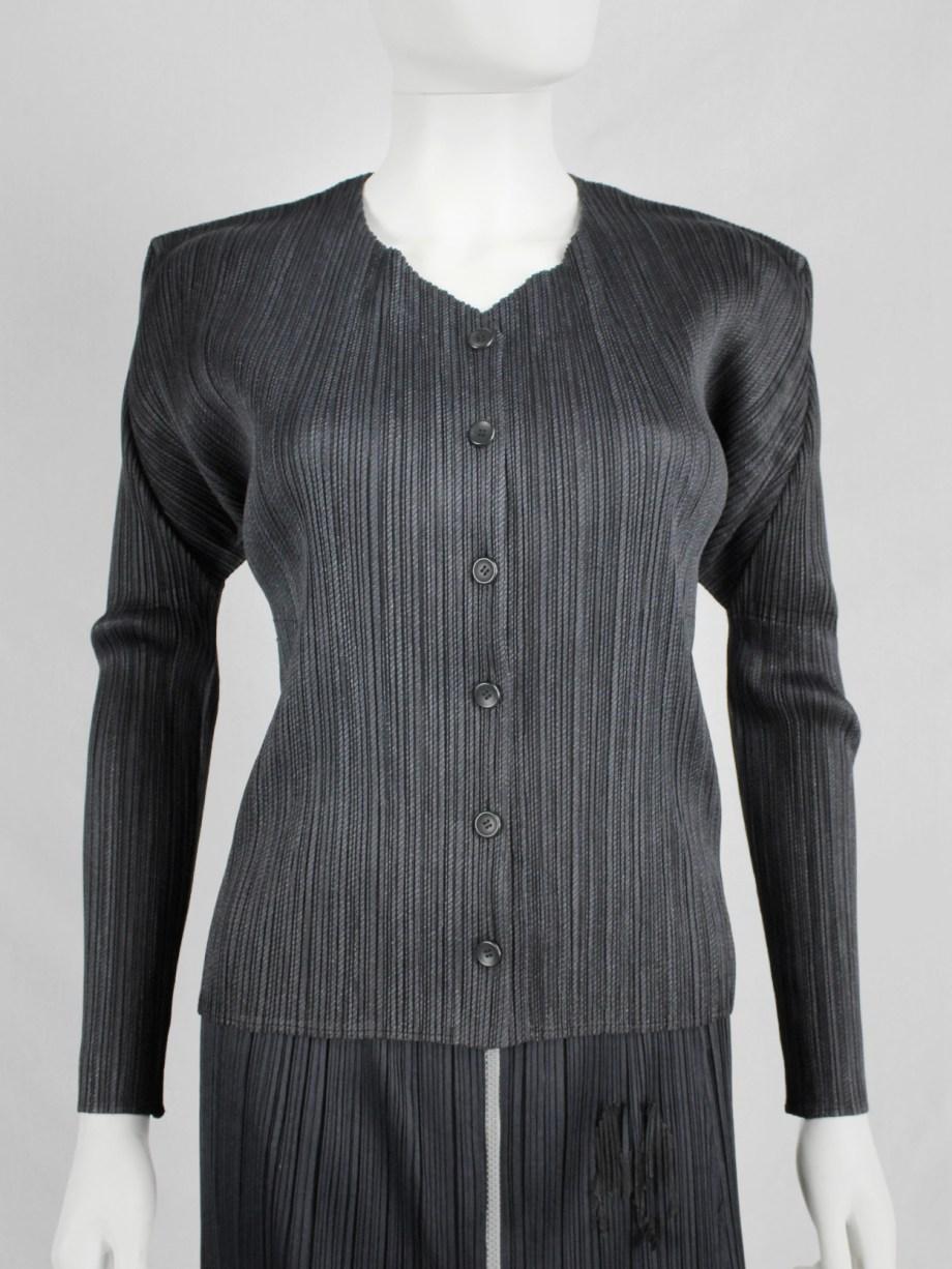 Issey Miyake Pleats Please dark grey button-up cardigan
