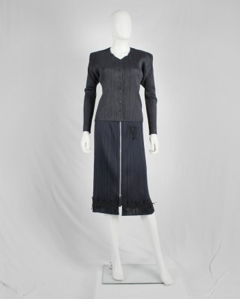 Issey Miyake Pleats Please dark grey button-up cardigan