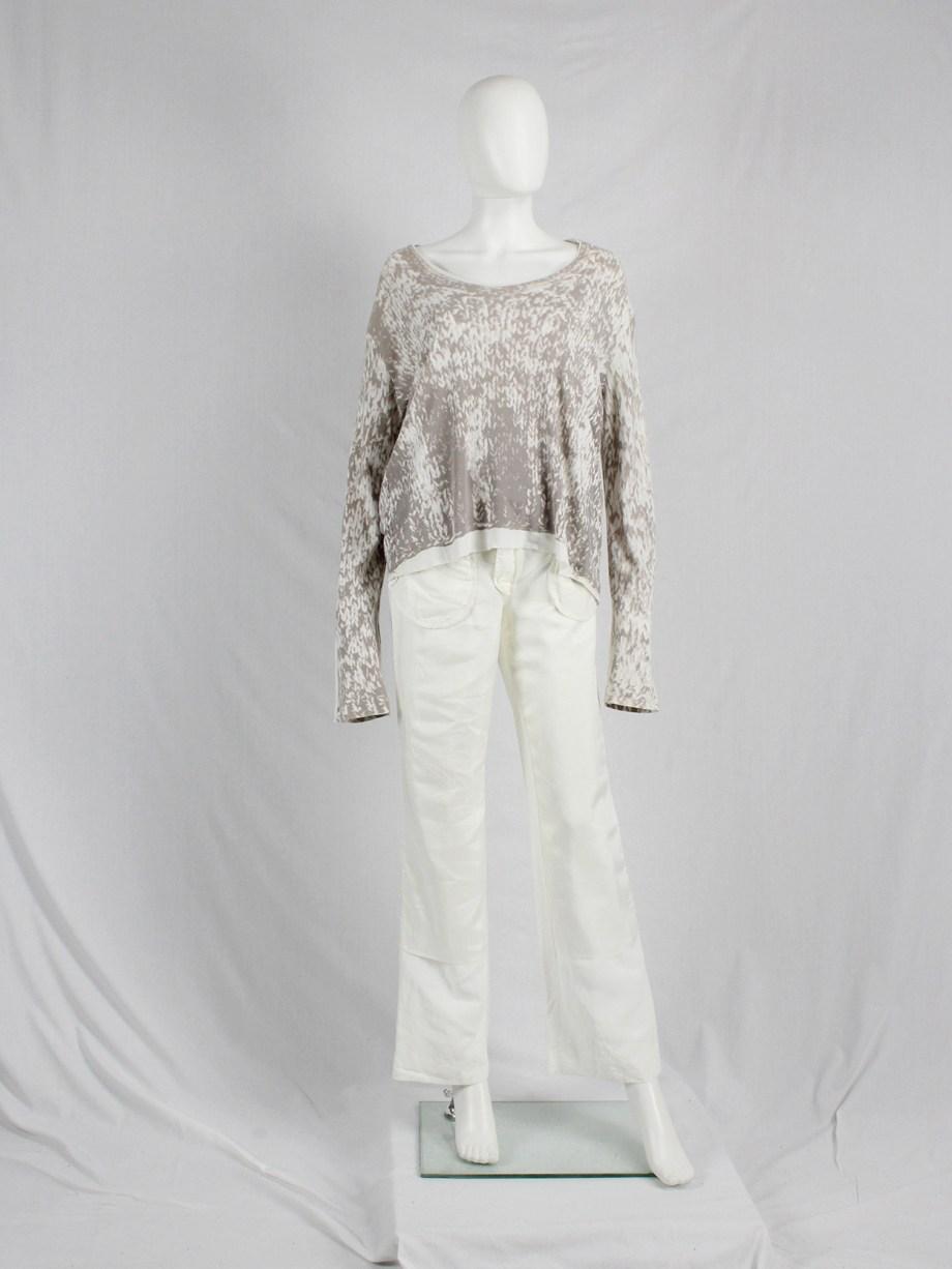 vaniitas Maison Martin Margiela beige top with trompe-l'oeil of a knit jumper spring 1996 0743
