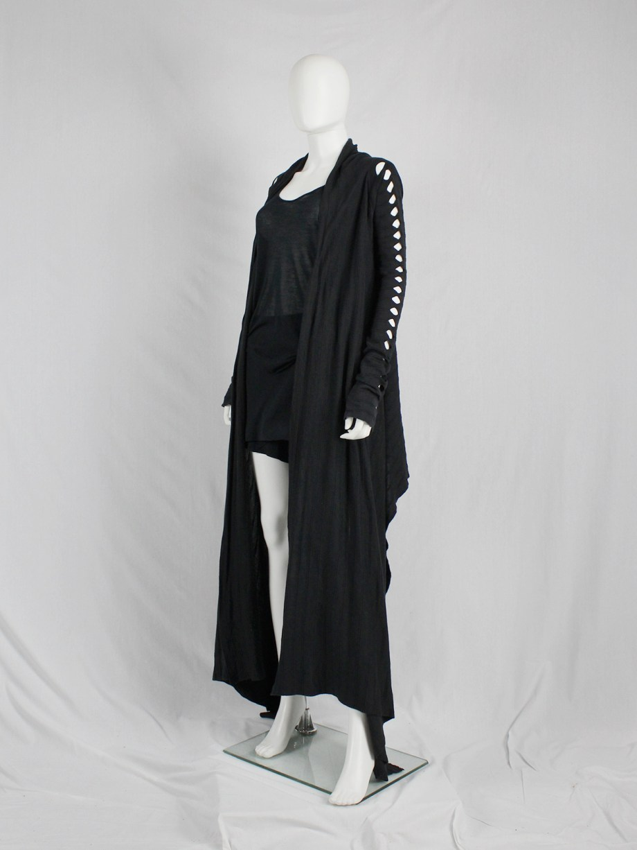 Rick Owens RELEASE black floor-length cardigan with holes along the sleeves — spring 2010