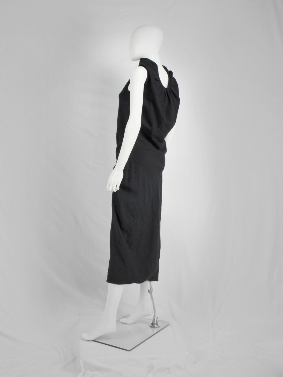 Rick Owens STAG black maxi dress with high neck and dropped waist — fall 2008