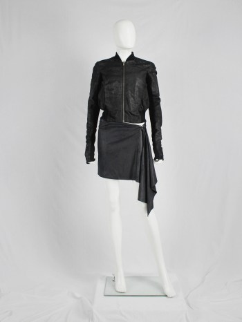 A.F. Vandevorst black shirt skirt with asymmetric drape — fall 2010