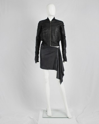 A.F. Vandevorst black shirt skirt with asymmetric drape — fall 2010