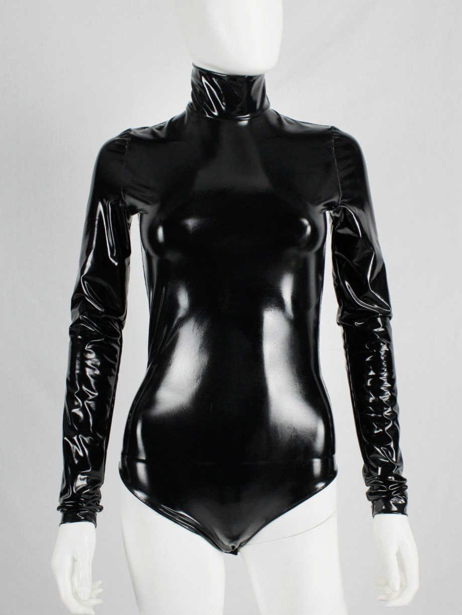 A.F. Vandevorst black latex bodysuit with turtleneck and long sleeves — fall 2017 couture