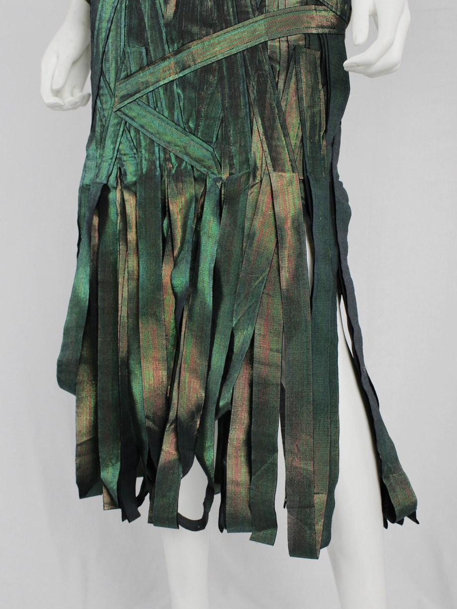 Issey Miyake holographic green skirt made of fabric strips — fall 2002