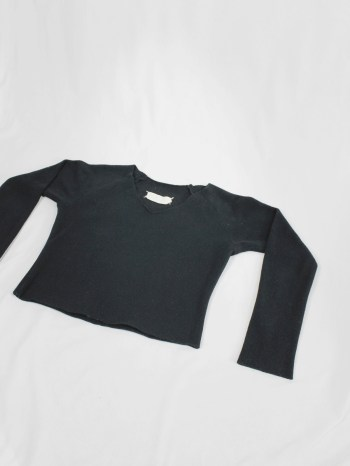 Maison Martin Margiela black flat jumper in teddybear fabric — fall 1998
