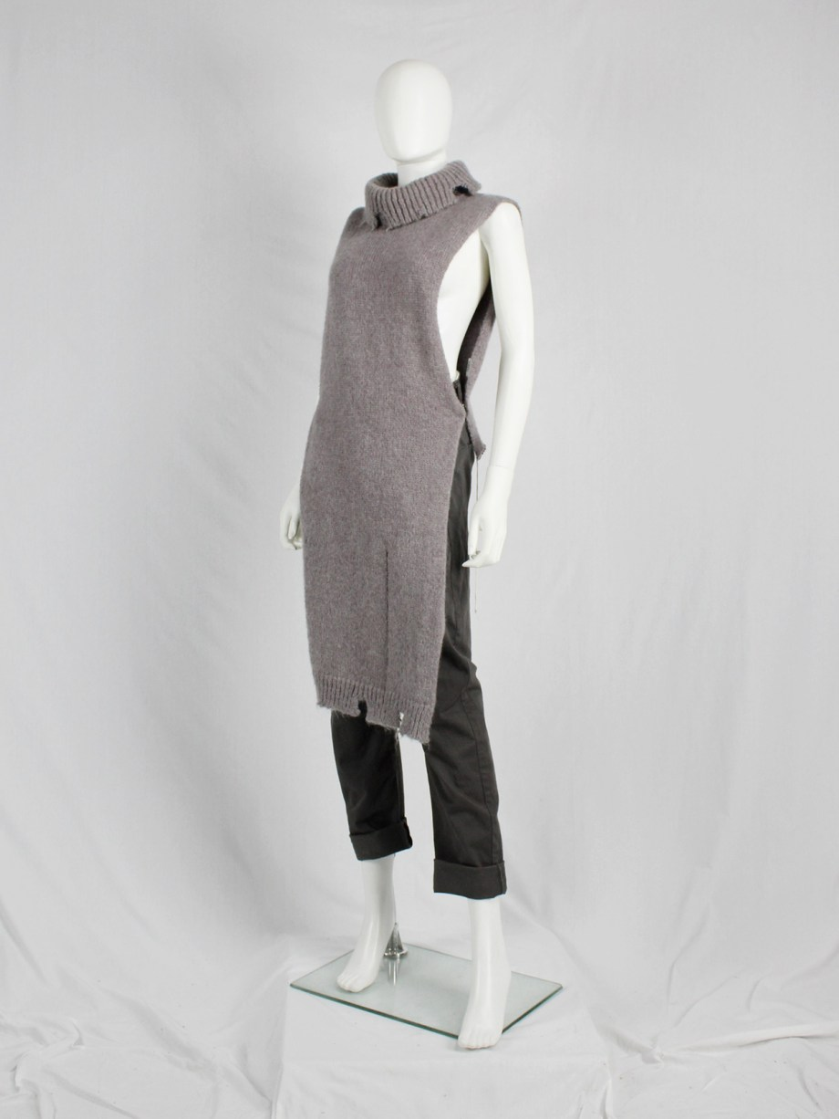 Maison Martin Margiela brown destroyed knit top with holes — fall 2000
