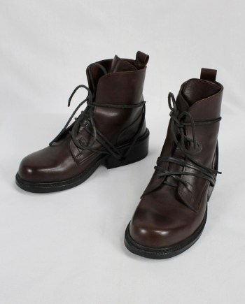 Dirk Bikkembergs brown tall boots with laces through the soles (39) — late 90's