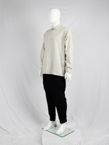 Dries Van Noten beige oversized shirt with straight fit