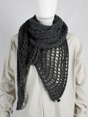 Dries Van Noten grey scarf in an oversized fishnet knit