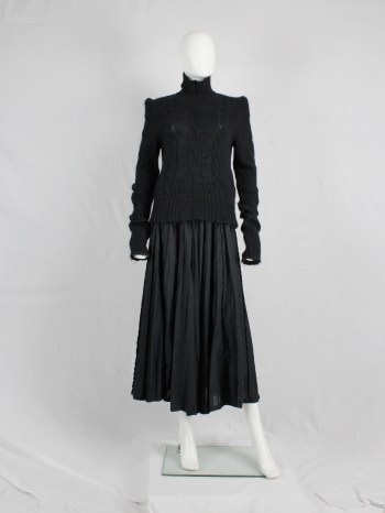 A.F. Vandevorst black turtleneck jumper with roped shoulders — fall 2007