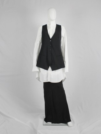 Ann Demeulemeester black waistcoat with open satin back and straps — spring 2008