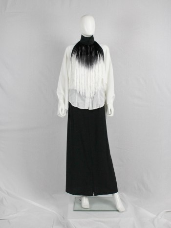 Ann Demeulemeester fringe bib necklace with black and white ombre — fall 2013