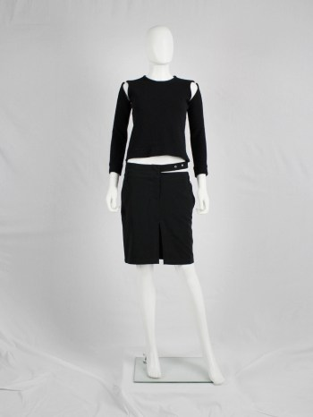 Dirk Bikkembergs dark blue mini-skirt with semi-attached belt — spring 1997