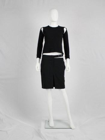 Dirk Bikkembergs dark blue mini-skirt with semi-attached belt — spring 1997