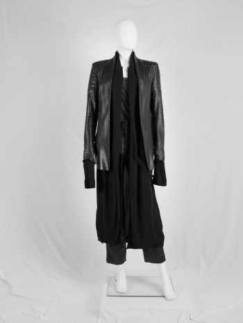 Haider Ackermann black leather biker blazer with padded shoulder details — fall 2012