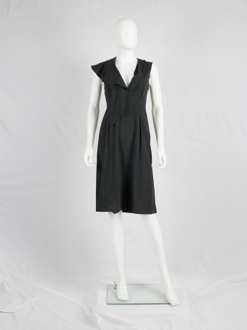 Maison Martin Margiela black dress with semi-detached draped collar — spring 2007