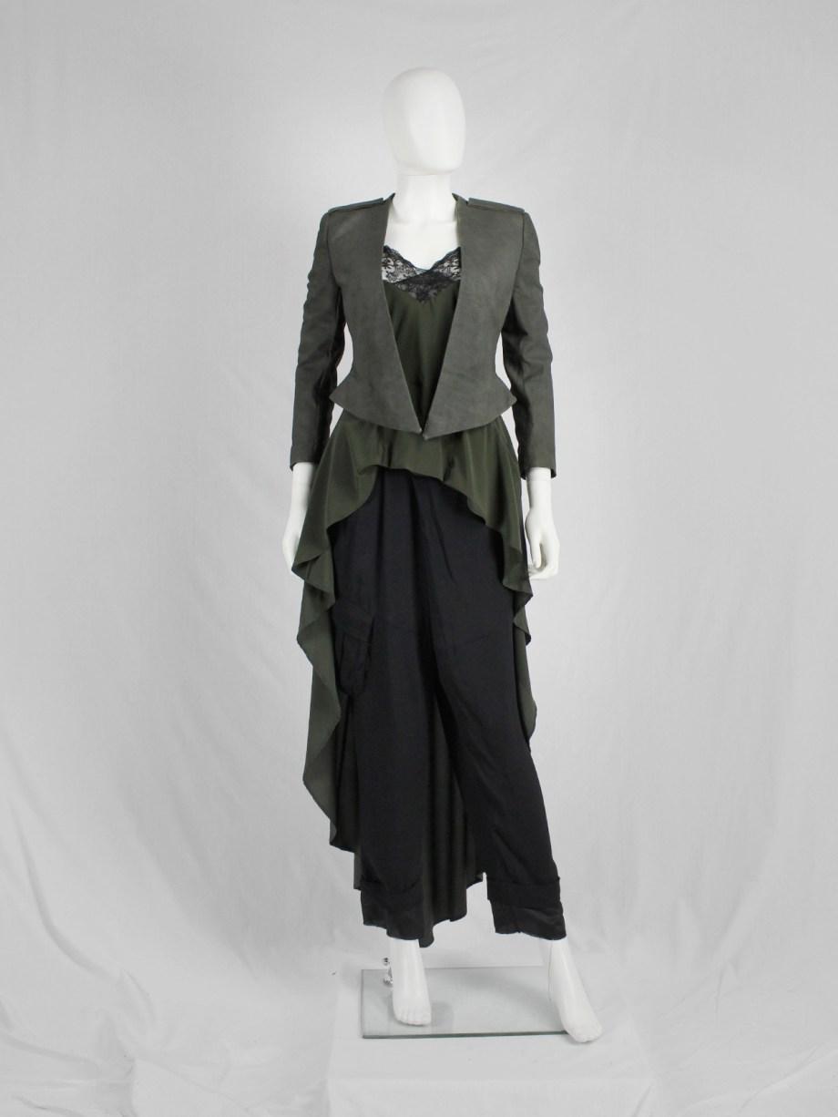 Haider Ackermann khaki green leather jacket with tailored waist — spring 2010