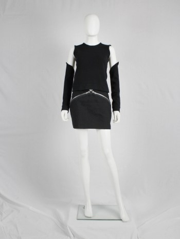 Maison Martin Margiela black skirt with diagonal zippers — fall 2008