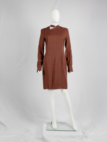 A.F. Vandevorst burnt orange dress with cutout at the neck and back panel — fall 2010