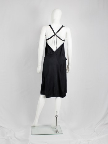 Ann Demeulemeester black dress with open back and tied straps — spring 2003