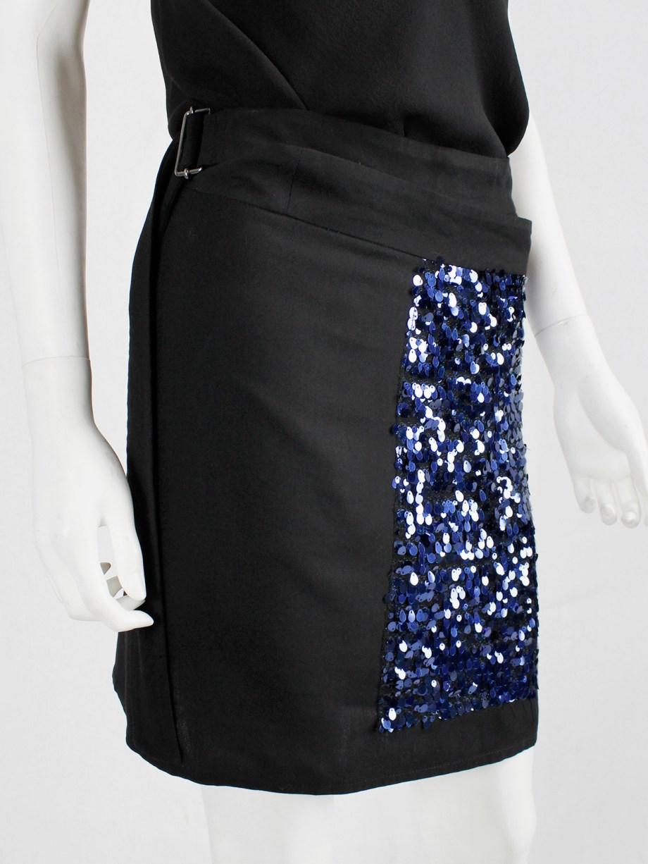 Ann Demeulemeester black wrap skirt with blue sequinned panel — 90's