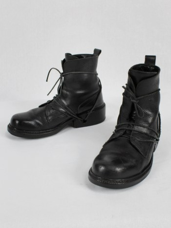 Dirk Bikkembergs black tall boots with laces through the soles (41) — mid 90's