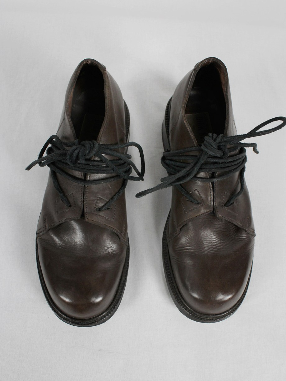 Dirk Bikkembergs brown derby shoes with laces through the soles (40/41) — fall 1994