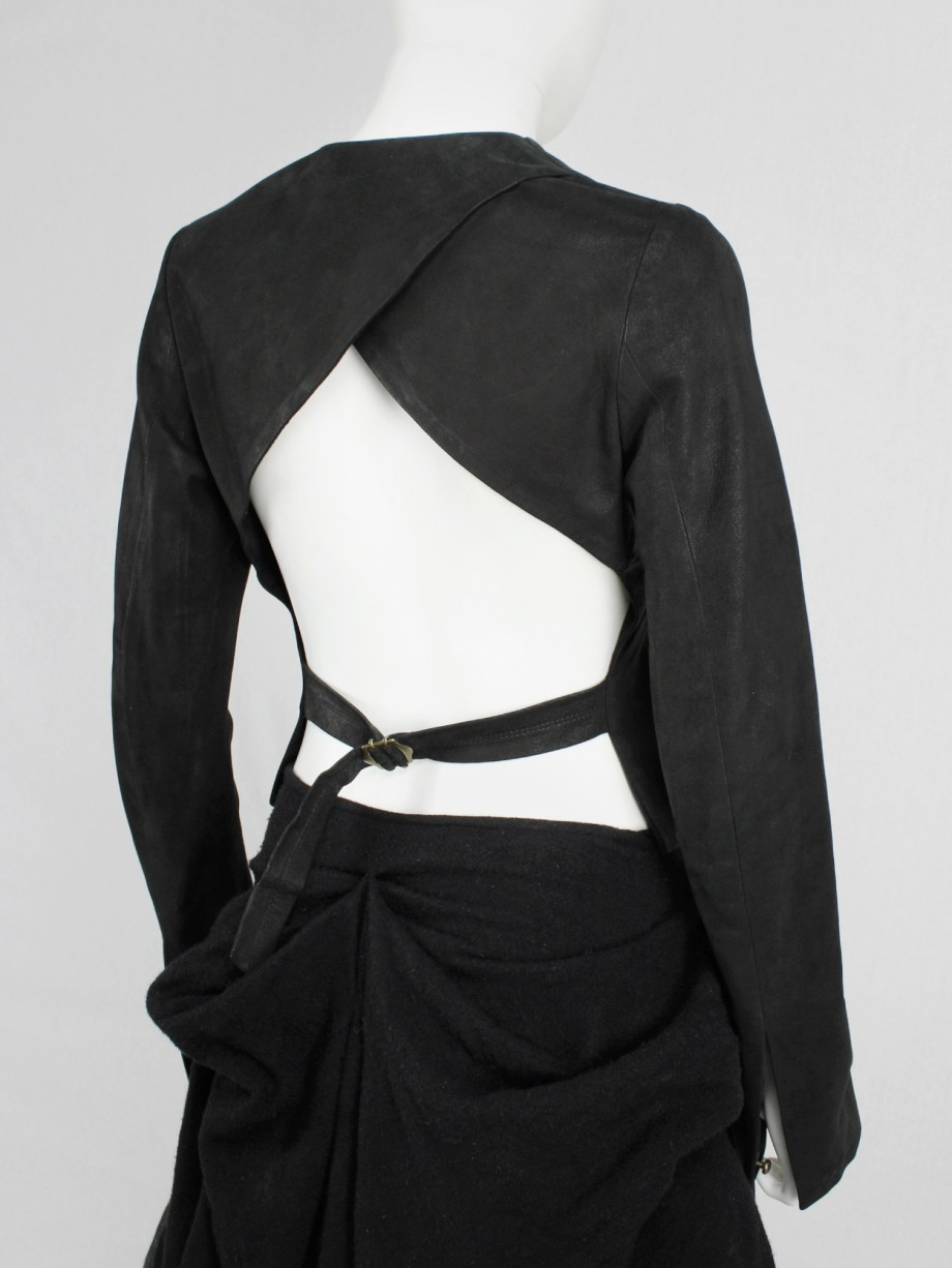 Isaac Sellam black leather jacket with open back and belt strap