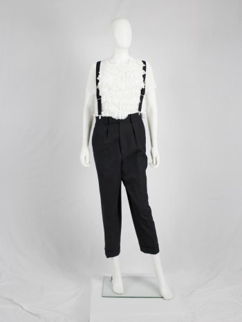 Junya Watanabe black pleated harem trousers with suspenders — fall 2012