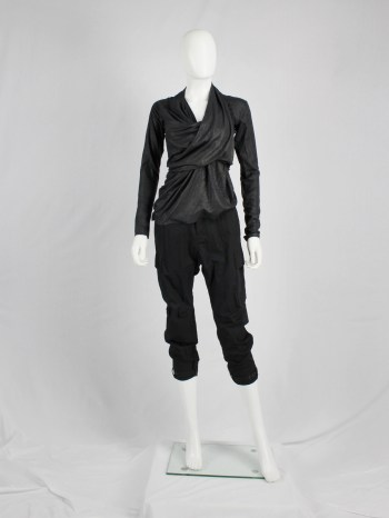 A.F. Vandevorst black diagonal jumper with heavily gathered draping — fall 2010