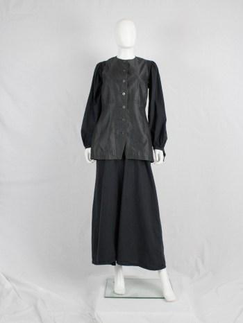 Dries Van Noten long brocade waistcoat in silver and black — 1980's