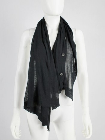 Ann Demeulemeester black convertible scarf with buttons