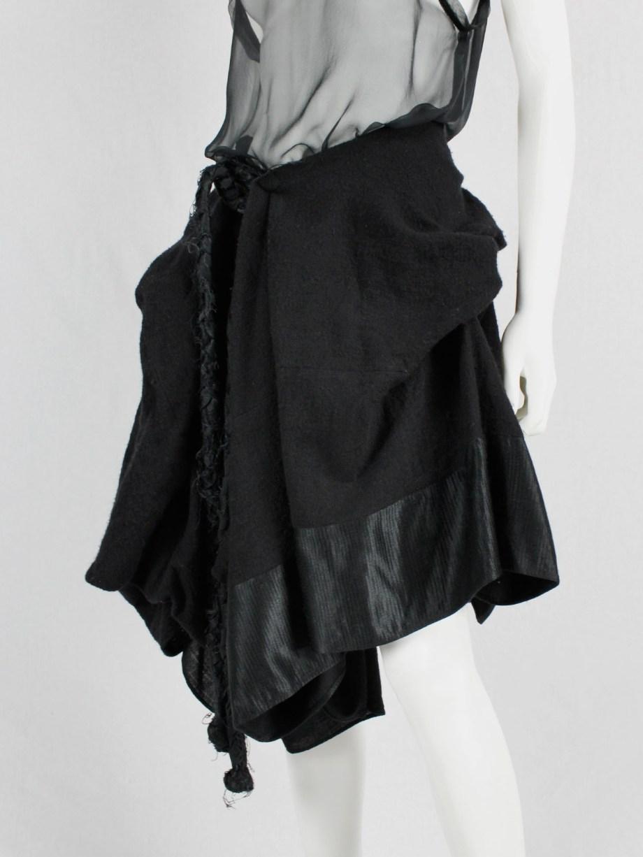 Ann Demeulemeester black heavily gathered skirt with oversized braid — fall 2005