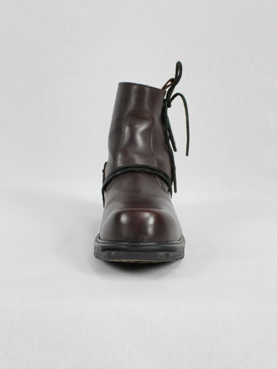 Dirk Bikkembergs brown boots with hooks and laces through the soles (44) — mid 90's