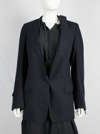 Maison Martin Margiela pinstripe blazer with detached lapel and 'exclusive fabric' tags — fall 2004