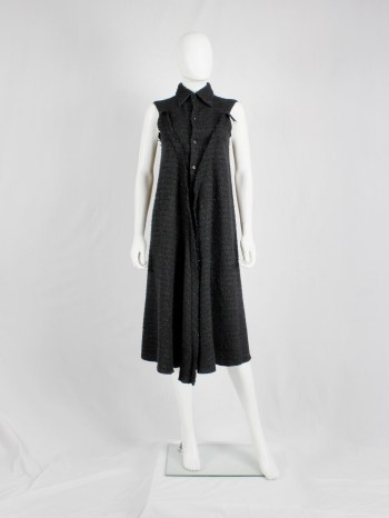 Yohji Yamamoto grey woven shirtdress with frayed panels