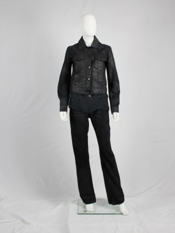 Maison Martin Margiela 6 black coated denim jacket — spring 1997