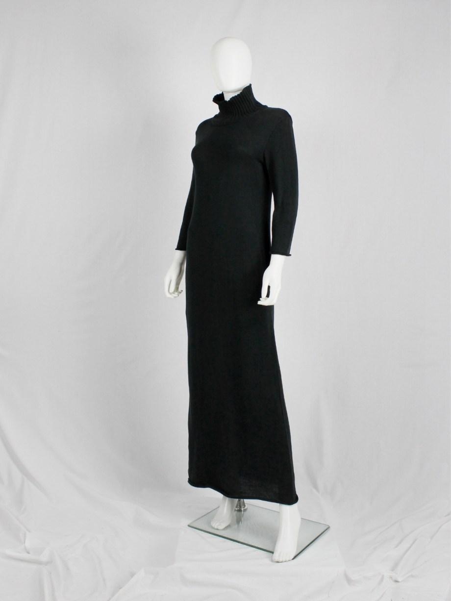Y's Yohji Yamamoto black knit maxi dress with turtleneck