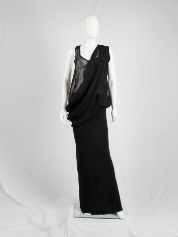 Ann Demeulemeester black sheer draped top or maxi dress