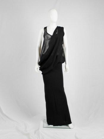 Ann Demeulemeester black sheer draped top or maxi dress