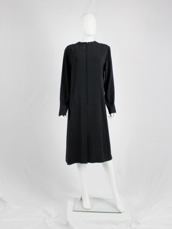 Maison Martin Margiela black oversized 2-way dress with stitched label on the front and the back — fall 2000
