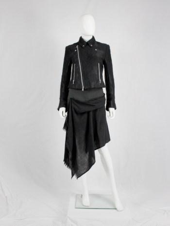 Yohji Yamamoto black miniskirt with black draped scarf