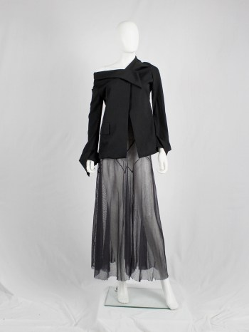 Yohji Yamamoto black off the shoulder blazer with deconstructed neckline — spring 2005