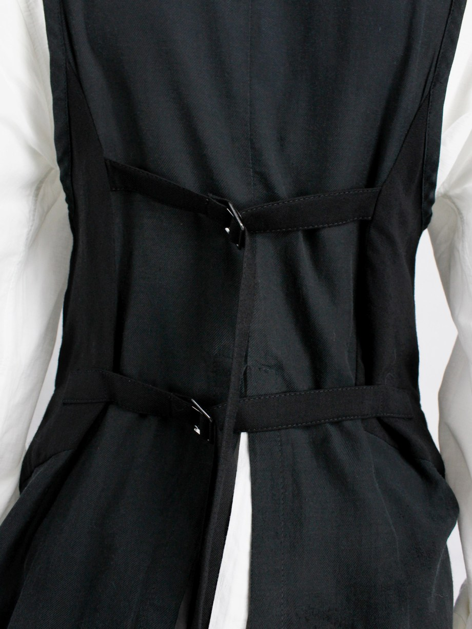 Ann Demeulemeester black cutaway waistcoat with back slit and straps — spring 2007
