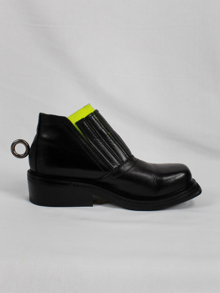 Dirk Bikkembergs black ankle boots with metal ring and neon elastic spring 1998 (19)