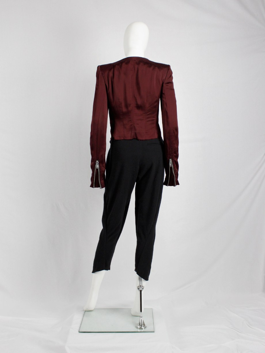 Haider Ackermann burgundy jacket with double front zipper fall 2009 (14)